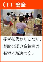 (1)安全 棒が杖代わりとなり、足腰の弱い高齢者の指導に最適です。